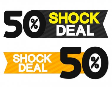 Shock Deal, sale  tags design template, discount banners, promotion poster, special offer tag, vector illustration