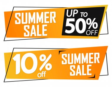 Summer Sale tags design template, discount banners, promotion poster, special offer tag, vector illustration