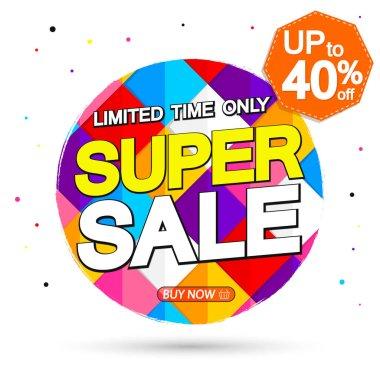 Super Sale, up to 40% off, promotion banner design template, discount tag, vector illustration