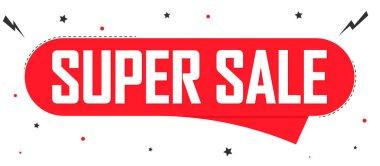 Super Sale, promotion banner design template, discount tag, vector illustration