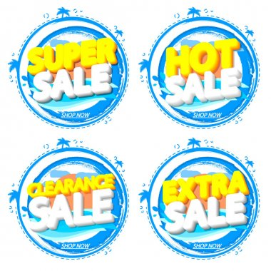 Set sale banners design template, discount tags. Set promo icons for online stores, vector illustration