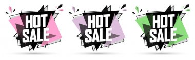 Set Hot  Sale banners, discount tags design template, vector illustration