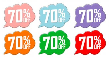 Set Sale 70% off banners, discount tags design template, special offer, end of season deal, app icons, vector illustration