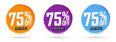 Set Sale 75% off banners, discount tags design template, special offer, end of season deal, app icons, vector illustration