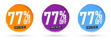 Set Sale 77% off banners, discount tags design template, special offer, end of season deal, app icons, vector illustration