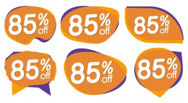 Set Sale 85% off banners, discount tags design template, special offer, end of season deal, app icons, vector illustration