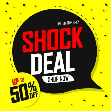 Shock Deal tag, up to 50% off, Sale banner design template, discount poster, vector illustration