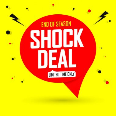 Shock Deal tag, Sale banner design template, app icon, vector illustration