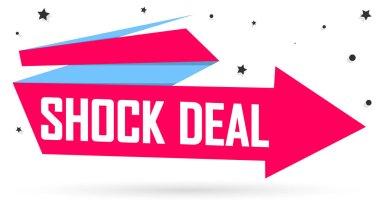 Shock Deal tag, Sale banner design template, app icon, vector illustration