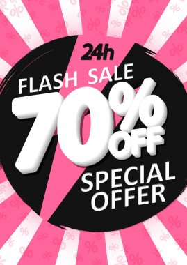 Sale 70% off, poster design template, discount banner, special offer, final deal, limited time only, vector illustration