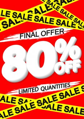 Sale 80% off, poster design template, discount banner, special offer, final deal, limited time only, vector illustration
