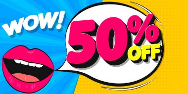 Sale 50% off, poster design template, discount banner, special offer, final deal, limited time only, vector illustration