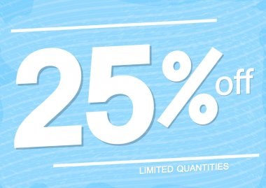 Sale25% off, poster design template, discount banner, special offer,  limited time only, vector illustration