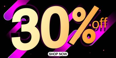 Sale 30% off, poster design template, discount banner, special offer, limited time only, vector illustration