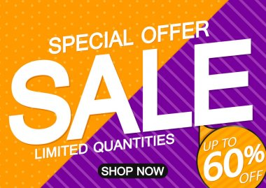 Sale 60% off, poster design template, discount banner, special offer, final deal, limited time only, vector illustration