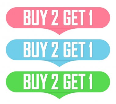 Buy 2 Get 1 Free, Set Sale banners design template, discount tags collection, great offer, vector illustration