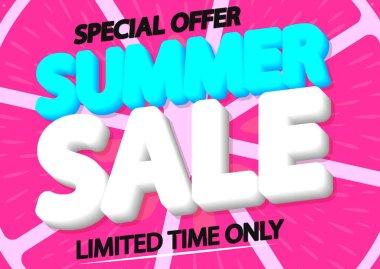 Summer Sale, discount poster design template, special season offer, promotion banner, vector illustration