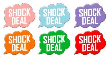 Set Shock Deal tags, sale banners design template, vector illustration