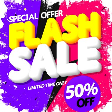 Flash Sale up to 50% off, poster design template, special offer, vector illustration