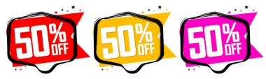 Set Sale 50% off banners, discount tags design template, special offer, end of season deal, app icons, vector illustration