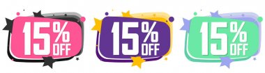 Set Sale 15% off banners, discount tags design template, promo app icons, vector illustration