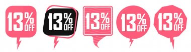 Set Sale banners, discount 13% off, offer tags design template, lowest price, vector illustration
