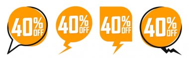 Set Sale banners, discount 40% off, offer tags design template, lowest price, vector illustration