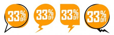 Set Sale banners, discount 33% off, offer tags design template, lowest price, vector illustration