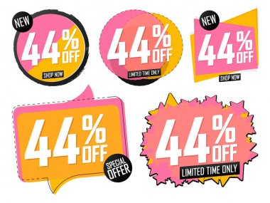 Set Sale banners, discount 44% off, offer tags design template, lowest price, vector illustration
