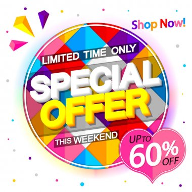 Special offer, sale 60% off, banner design template, discount tag, shopping promo poster, vector illustration