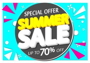 Summer Sale up to 70% off, poster design template, season best offer. Discount banner for online shop, vector illustration.