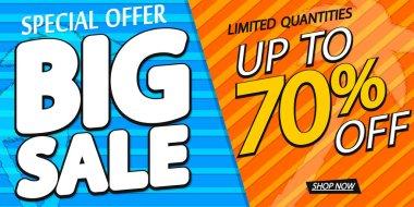 Big Sale up to 70% off, poster design template, season best offer. Discount banner for online shop, vector illustration.