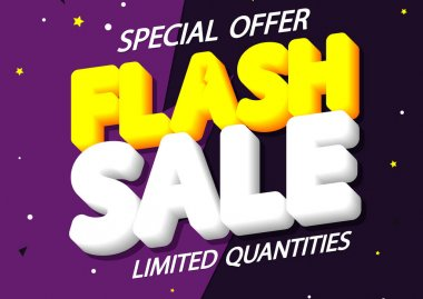 Flash Sale, poster design template, limited time only, discount banner, vector illustration