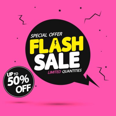 Flash Sale, up to 50% off, speech bubble banner design template, discount tag, promo poster for online store, vector illustration