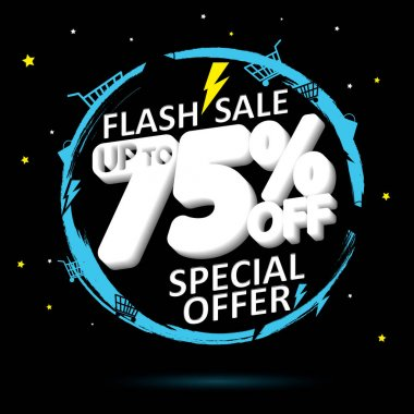 Flash Sale, banner design template, up to 75% off, discount tag, special offer, promo poster for online store, vector illustration