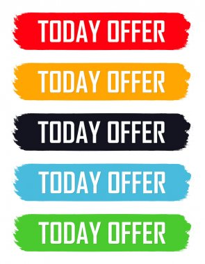 Today Offer tags, set sale banners design template, vector illustration
