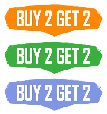 Buy 2 Get 2 Free, Set Sale banners design template, discount tags collection, great offer, vector illustration