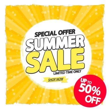 Summer Sale up to 50% off, poster design template, season best offer. Discount banner for online shop, vector illustration.