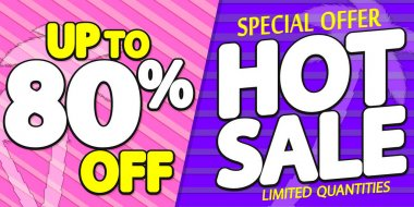 Summer Sale up to 80% off, poster design template, season best offer. Discount banner for online shop, vector illustration.
