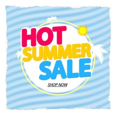 Hot Summer Sale, discount poster design template, store offer banner. Season shopping, promotion banner, vector illustration.