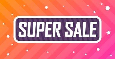 Super Sale, banner design template, discount tag. Promotion poster for shop or online store, vector illustration.