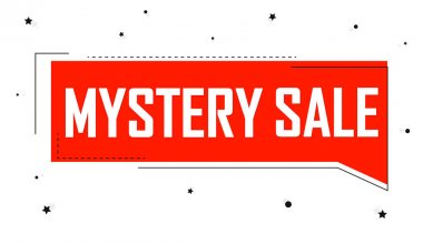 Mystery Sale, banner design template, discount tag. Promotion poster for shop or online store, vector illustration.