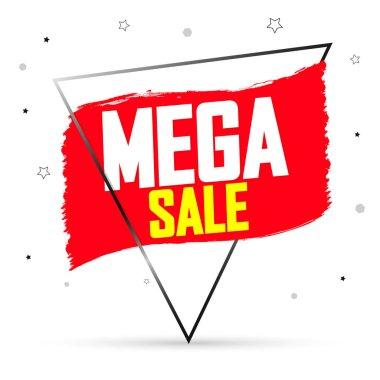 Mega Sale, banner design template, discount tag, grunge brush. Promotion poster for shop or online store, vector illustration.