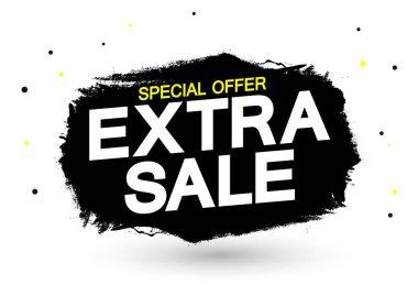 Extra Sale, banner design template, discount tag, grunge brush. Promotion poster for shop or online store, vector illustration.