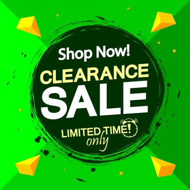 Clearance Sale, banner design template, discount tag, grunge brush. Promotion poster for shop or online store, vector illustration.