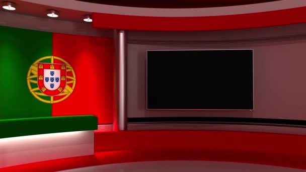 TV stúdió. Portugália. Portugál zászló. Hírstúdió. Hurok animáció. Háttér bármilyen zöld képernyőn vagy chroma kulcs videó gyártás. 3D-s renderelés. 3d