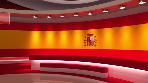 TV stúdió. Svájcban. Svájci zászló. Hírstúdió. Hurok animáció. Háttér bármilyen zöld képernyőn vagy chroma kulcs videó gyártás. 3D-s renderelés. 3d