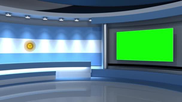 TV stúdió. Hurok animáció. Hírstúdió. Háttér bármilyen zöld képernyőn vagy chroma kulcs videó gyártás. 3D-s renderelés. 3d