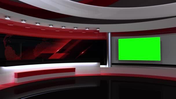 Tv stúdió. Hírszoba. Stúdió háttér. Vörös. Newsroom pékség. Háttérkép bármilyen zöld képernyőn vagy chroma kulcs videó gyártás. Hurok. 3D renderelés.