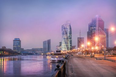 Moscow City under lilac clouds
